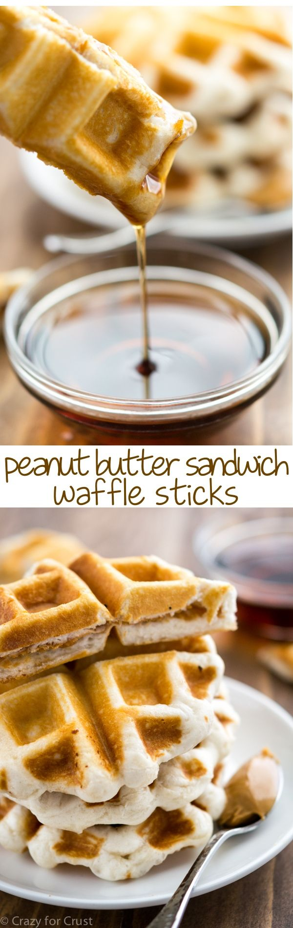 These Peanut Butter Sandwich Waffle Sticks are the perfect easy and fast breakfast with only 4 ingredients!