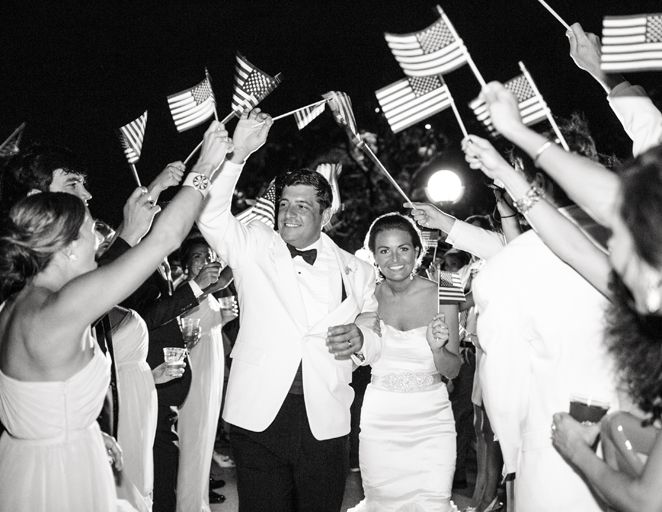 14 Fun Fourth of July Wedding Ideas (they can get flags or sparklers, but I like sparklers better..)