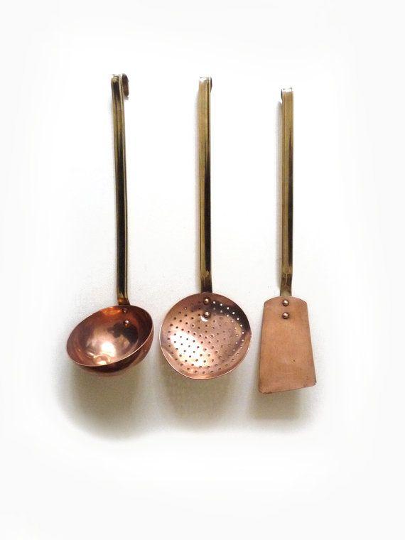 French antique copper ladle, copper skimmer, copper spatula