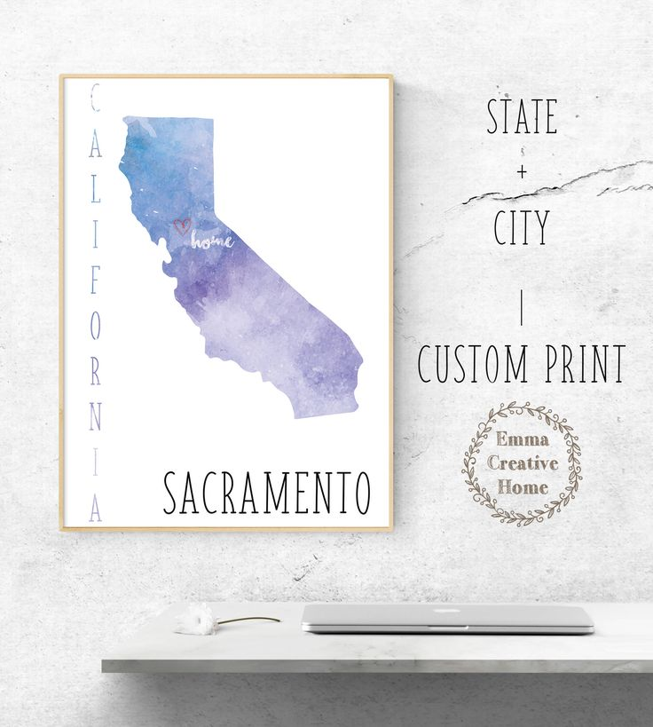 Customized Print, State Map, Home City Print, Favorite City, Art Print, Heart, Custom Wall Art, Home Decor, California, Sacramento by EmmaCreativeHome on Etsy