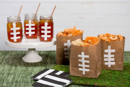 Festive Football Bags and Mason Jars
