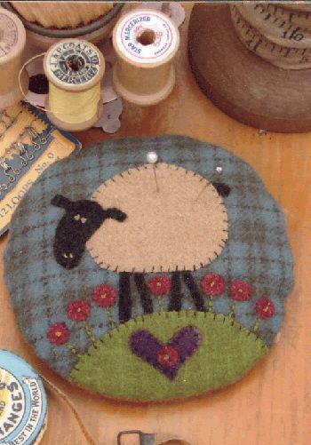 """Larry Lamb Pincushion - Pattern for a sweet 4 1/2"""" wool appliqued pincushion. Quick and easy...perfect for gift giving! Design by Anni Downs"""