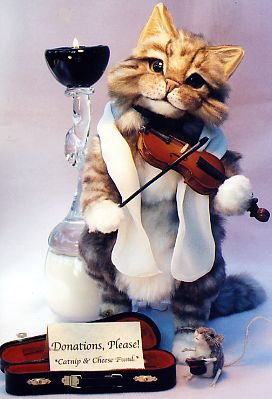 Cat and the Fiddle - Beggar series, faux fur with needle felted mouse