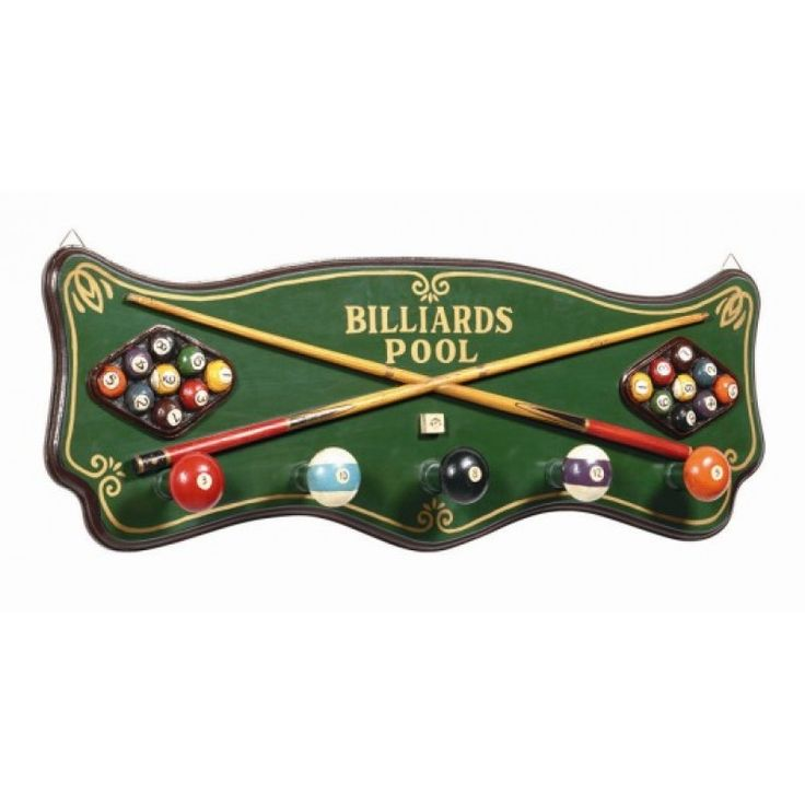 Unique Pub Sign Billiards Coat Rack https://www.studio9furniture.com/entertain/bar-decor/wall-decor/pub-sign-billiards-coat-rack  With a five coat hooks, this pub sign is perfect for billiards enthusiast.