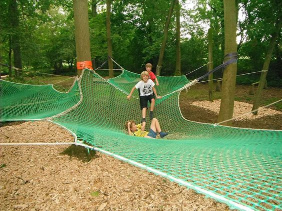 Play nets attached to trees.