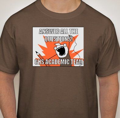 I was reading Auburn Memes and didn't remember if we had posted the design Renee and I did for the Grissom High Academic Team t-shirts...