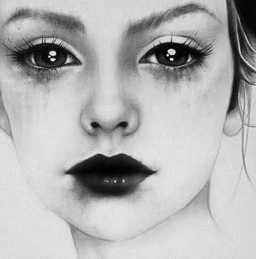 Beautiful drawing of a sad girl