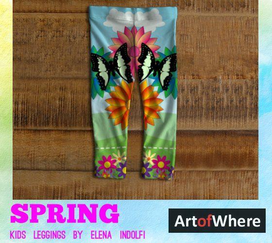 Spring Kids Leggings by Elena Indolfi  #ArtofWhere