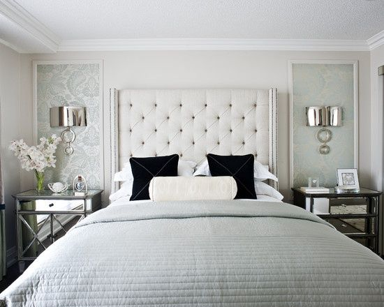 wallpaper panels beside bed mirrored nightstands