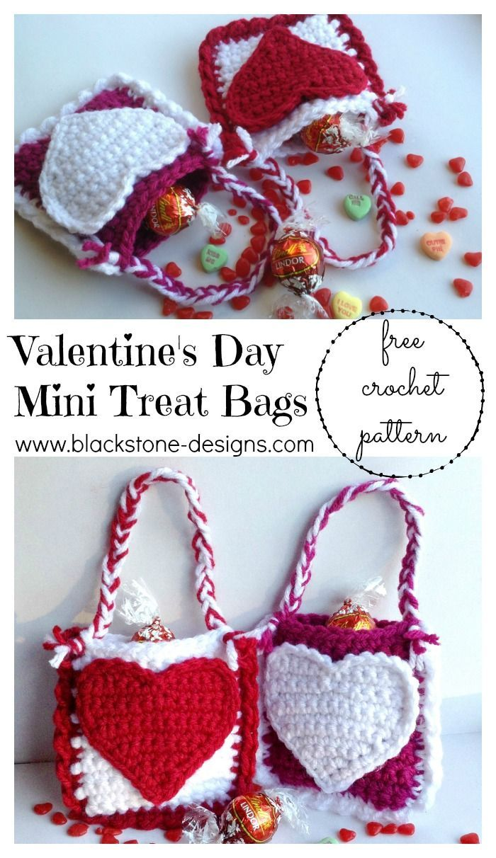 Valentine's Day Mini Treat Bags FREE crochet pattern from Blackstone Designs #valentinesday #crochet #heart #love