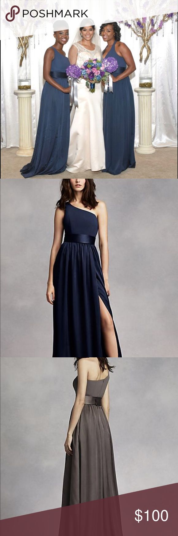 David's Bridal Vera Wang One Shoulder Dress Timeless and chic, this midnight colored, floor sweeping  dress draws a romantic appeal! One shoulder ...
