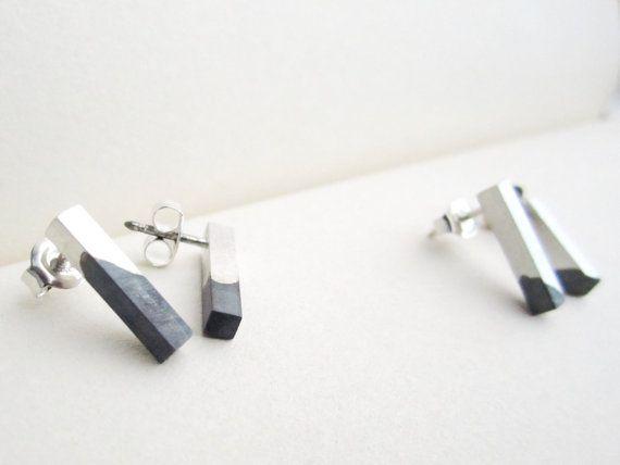 Dipdyegeoxideerde oorbellen zilveren door JosienBaetensJewelry