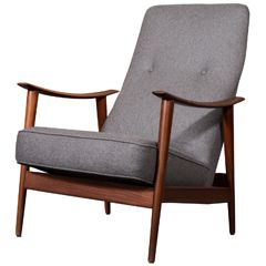1960's Scandinavian Teak Rocking Lounge Chair In Gray Wool