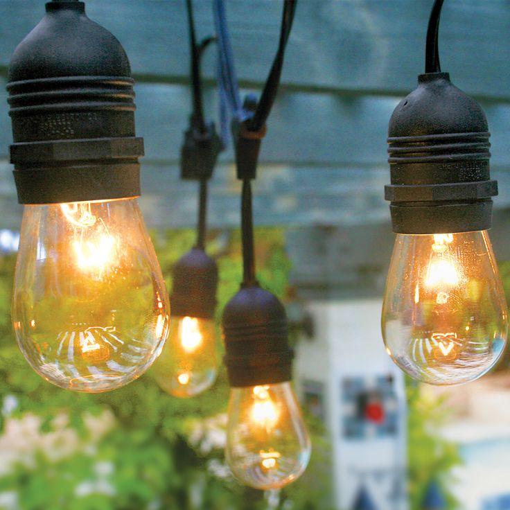 10 socket commercial outdoor string light kit w s14 bulbs 21ft expandable
