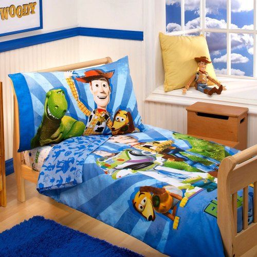 Disney 4 Piece Toddler Bedding Set Buzz Woody and the Gang NewBorn Kid Child Childern Infant  @ niftywarehouse.com #NiftyWarehouse #Toy #Story #Movie #ToyStory #Pixar