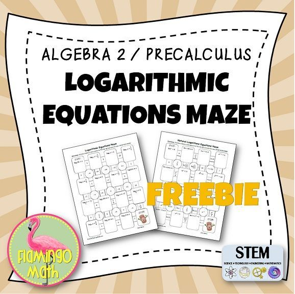 Algebra 2 Precalculus Logarithmic Equations Maze Freebie