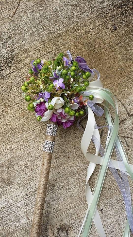 Custom Order Rustic Woodland Flower Girl Wand by KAArtisticEvents