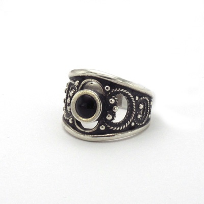 Silver and jet ring. Handmade in Galicia. Artcraft of The Way of Saint James. Tax free $44.90