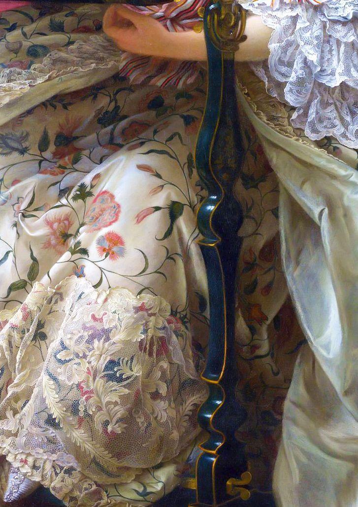 FRANÇOIS-HUBERT DROUAIS. Madamme de Pompadour (detail). 1763.