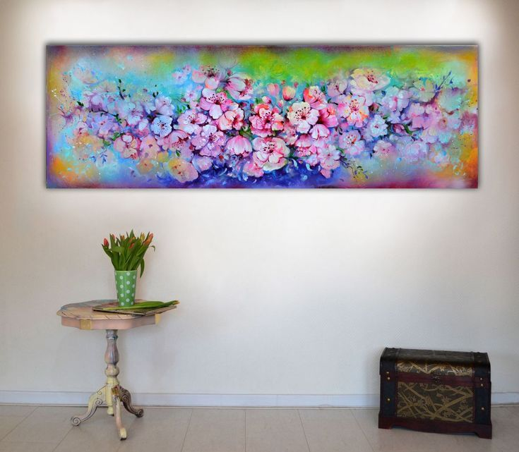 Buy Spring Blossom - Large Floral Abstract - 150x50 cm, Big Modern Ready to Hang Painting - Flower Acrylics Painting, Acrylic painting by Soos Roxana Gabriela on Artfinder. Discover thousands of other original paintings, prints, sculptures and photography from independent artists.