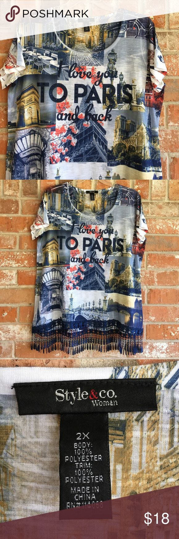 "Fringe/Graphic Top ""I LOVE YOU TO PARIS AND BACK"" This top is in EUC. No rips stains or tears. It measures 25"" underarm to underarm and us 29"" long including fringe trim. Style & Co Tops Blouses"