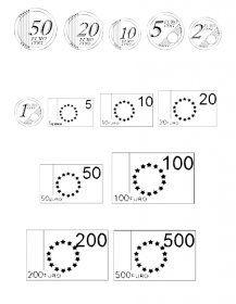 Une police et des images pour représenter les pièces de 1 cent à 2 euro et les billets de 5 euro à 500 euro.
