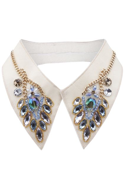 Beaded collar blue gold chain