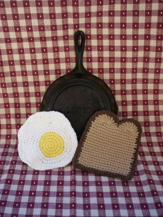 Crochet Egg Holder : Fried Egg & Toast Pot Holder Set - Crochet