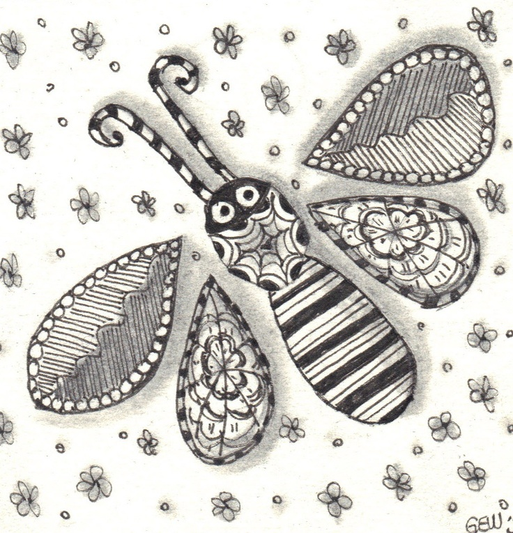 Zentangle Whimsical DragonFly - I'd add a longer body and wings