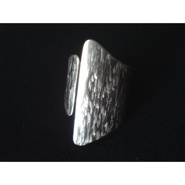 Hand Hammered Silver Ring Modern Wide Cuff Open Band Adjustable Handcrafted Statement Ring Asymmetrical Handmade Greek Jewelry Gift For Her (€18) found on Polyvore featuring women's fashion, jewelry, rings, silver cocktail ring, handcrafted rings, silver jewelry, wide silver band ring and hammered silver ring