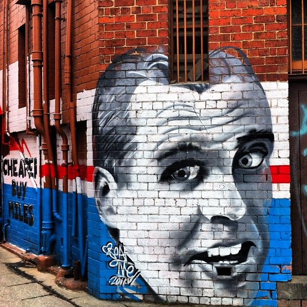 Street art, Footscray, Melbourne. Victoria. Teddy Whiton AFL player known as Mr. Football.