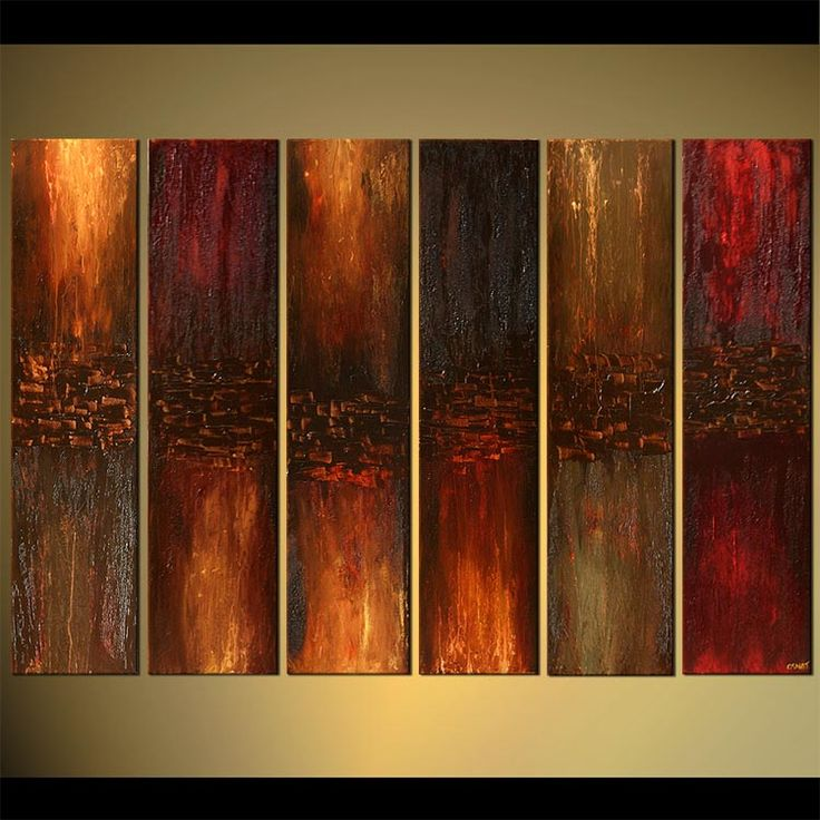 Original abstract art paintings by Osnat - large brown rusty modern painting