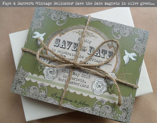 Vintage Delcates Save the Date Magnets in Olive Green by In the Treehouse