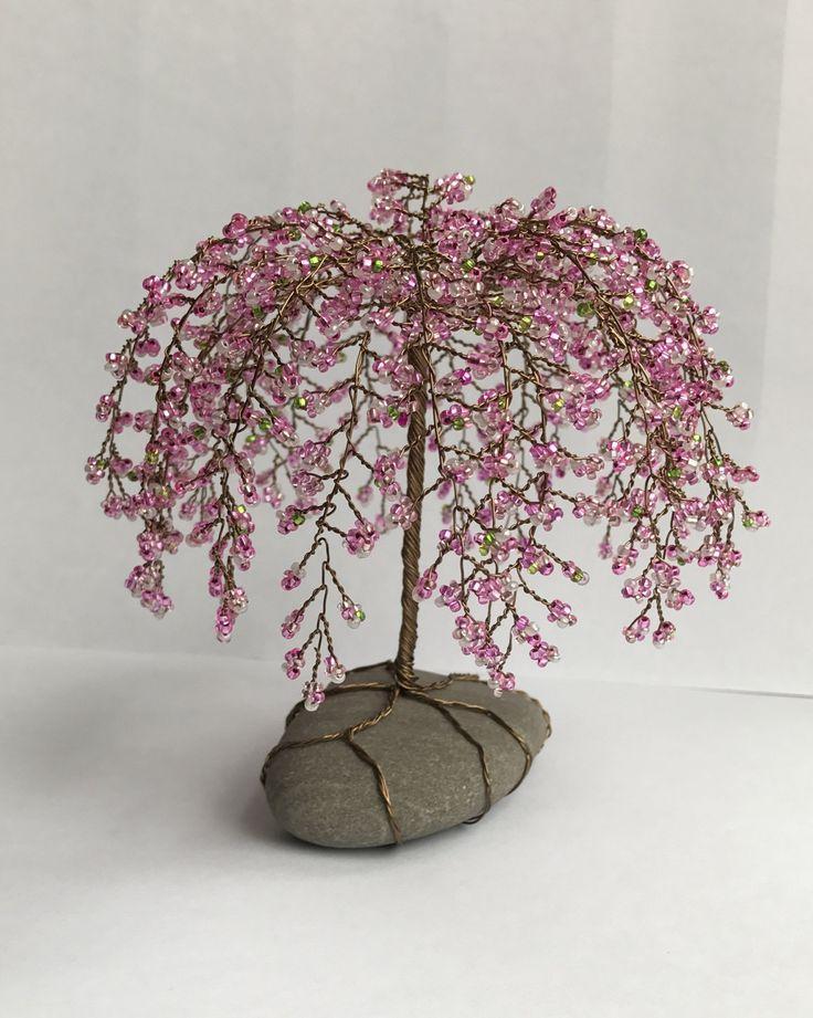 Weinende Kirschbaum Skulptur Perlen Dekoration Einzigartiges Geschenk Glasperlen Rosa Nach Maß   – beads