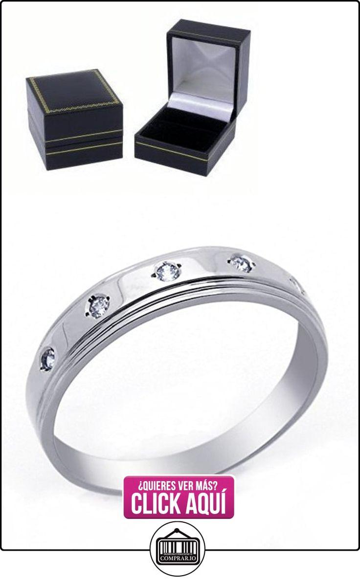 Pequeños Tesoros - Anillo de hombre - Anillo de compromiso y boda de oro 0.1ct Circonita Oro blanco  ✿ Joyas para hombres especiales - lujo ✿ ▬► Ver oferta: http://comprar.io/goto/B00BFX9DRM