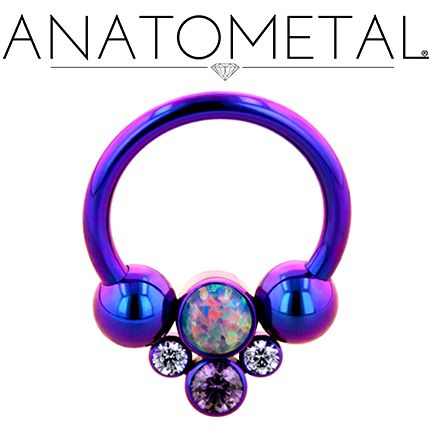 "7/16"", 14ga Circular Barbell with Captive Gem Cluster in ASTM F-136 titanium, anodized blurple; synthetic Opal #38, Lavender CZ and synthetic Amethyst gems"