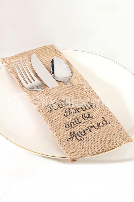 rustic burlap table runner decoration u0027eat drink u0026 be burlap silverware