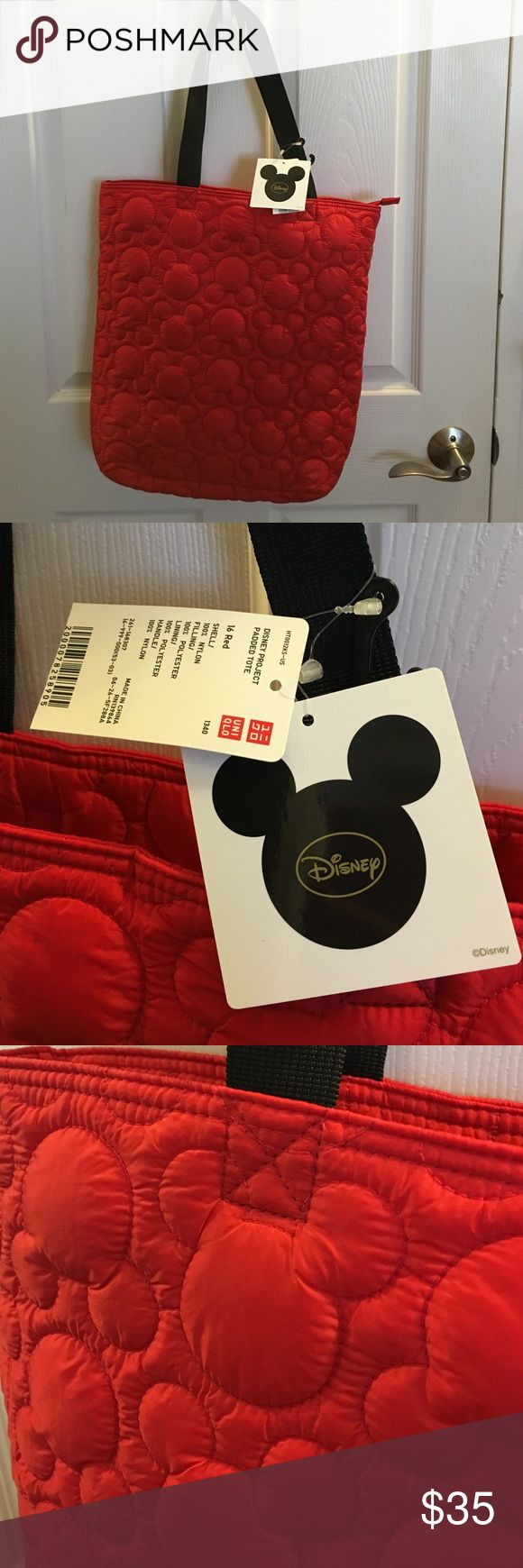 New! Red Mickey padded tote bag New with tags! Disney exclusive from uniqlo Mickey Mouse padded tote. UNIQLO Bags Totes
