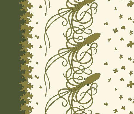 Squid_Border_Print-Green fabric by meduzy on Spoonflower - custom fabric