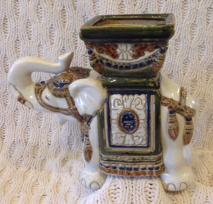 Vintage Ceramic Elephant Plant Stand Planter Elephant