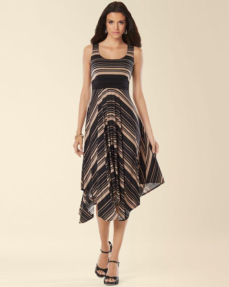Soma Sleeveless Scarf Hem Midi Dress in Destination Stripe Black - Soma Sweepstakes #SomaSweepstakes
