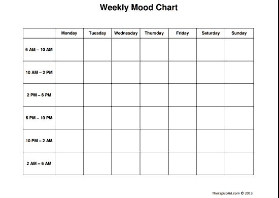 Weekly Mood Chart Worksheet Counseling Pinterest