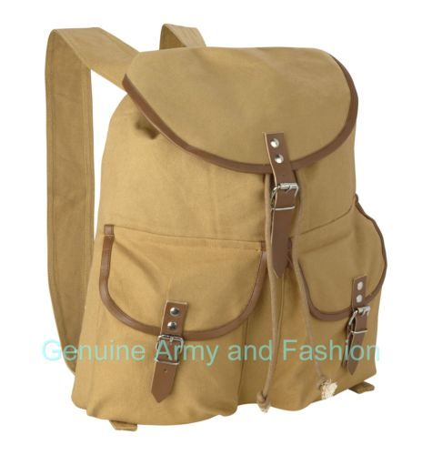 BRAND NEW VINTAGE ARMY MILITARY CANVAS BACKPACK RUCKSACK DAYPACK LEATHER STRAPS