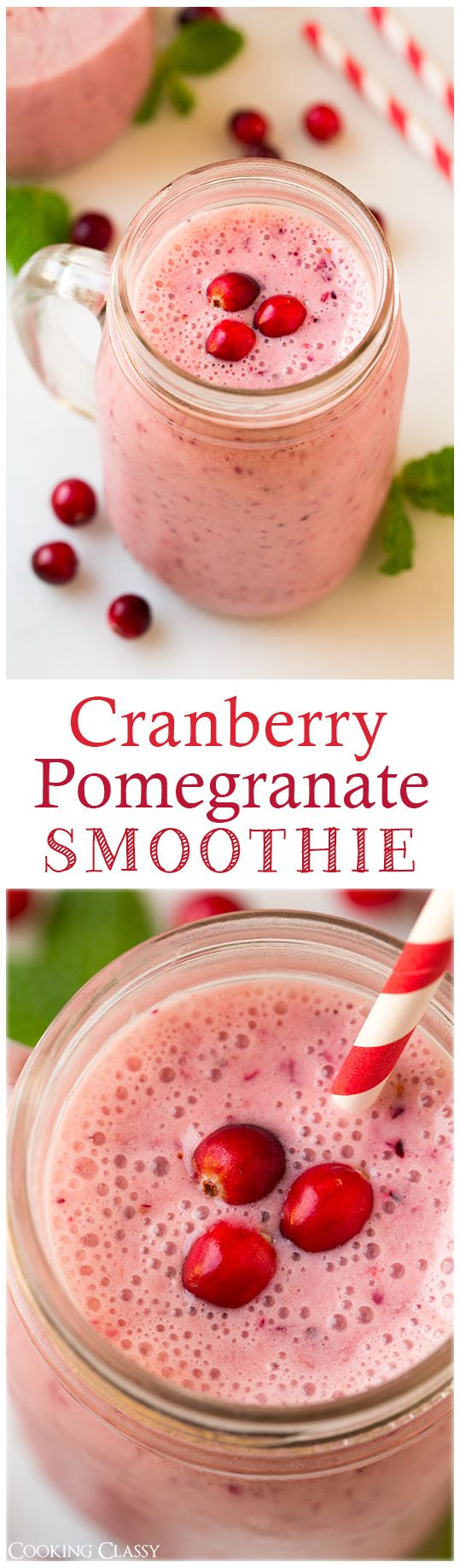 Cranberry Pomegranate Smoothie - this smoothie is so refreshing! Such a delicious, healthy breakfast. The banana and vanilla yogurt perfectly balance out the tartness of the cranberries.