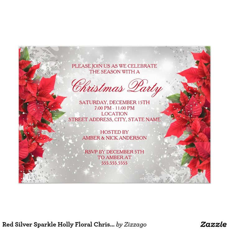 Red Silver Sparkle Holly Floral Christmas Party 5x7 Paper Invitation Card
