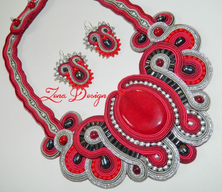 "Soutache ""Red and Silver"" 