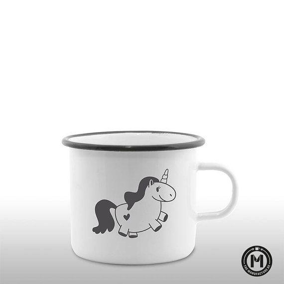 Einhorn / Unicorn Emaille Becher / Tasse Geschenk