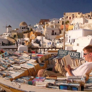 ..Libraries, Book Lovers, Favorite Places, Dreams Vacations, Boats Book, Travel Book, Reading Nooks, Dreams Come True, Santorini