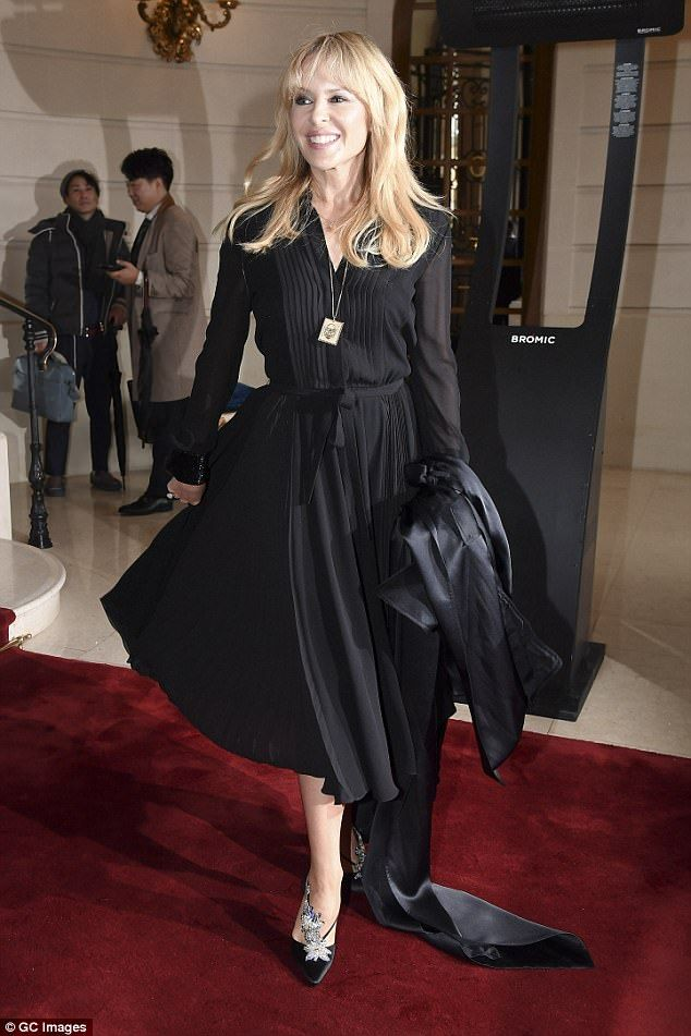 Hitting the right notes: Kylie Minogue, 49, showcased her envy-inducing style as she arrived at Schiaparelli AW18 fashion show during Paris Fashion Week.