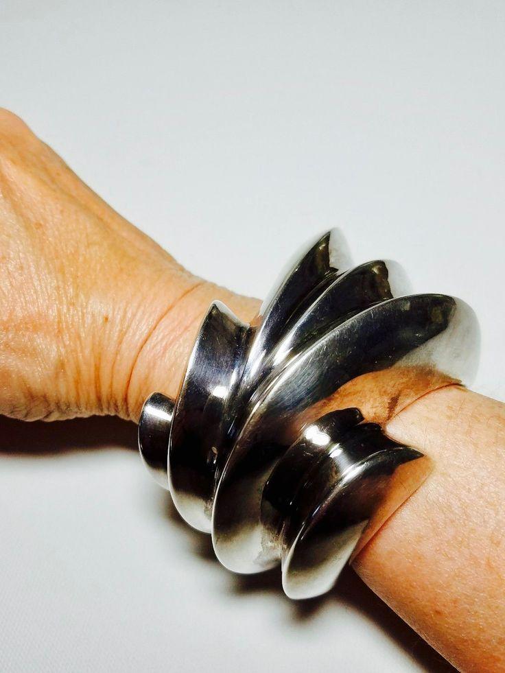 Mikal-Jon for Bayanihan Ltd, modernist sterling silver cuff bracelet. Made in #Spain.   peculiarjewelry.com